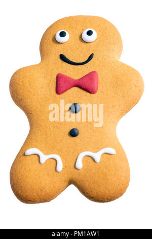 Gingerbread man cut out or isolated against a white background, UK. - Stock Image