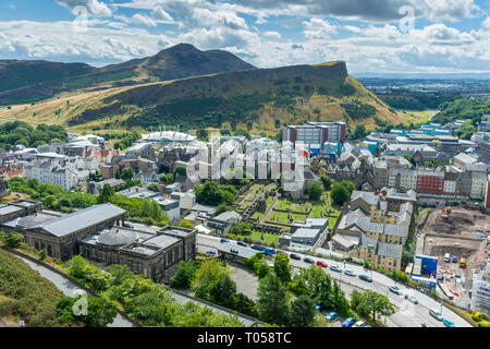 Arthur's Seat and Salisbury Crags from Calton Hill, Edinburgh, Scotland, UK - Stock Image
