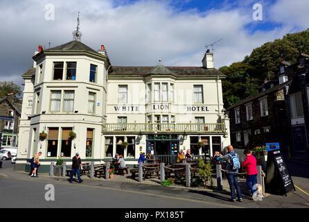 The White Lion Hotel,Market Place, Ambleside,Lake District, Cumbria,England,UK - Stock Image