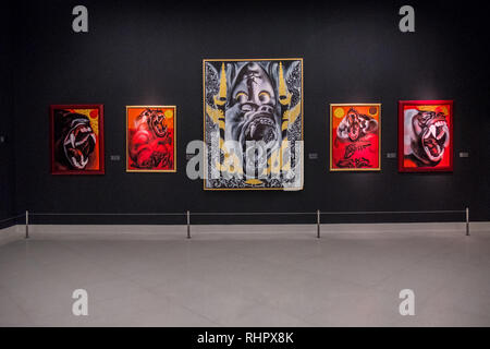 painting at bangkok's museum of contemporary art - Stock Image