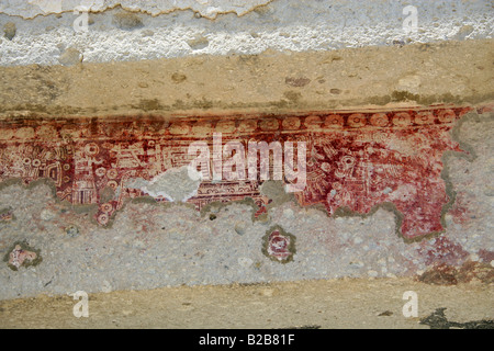 Codex Type Mural Painting on the Lintels of the Eastern Courtyard of the Mitla Archaeological Site, Mitla, Oaxaca - Stock Image