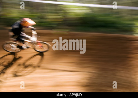 mountain bike biker race racing at Chicksands Bedfordshire final Round of the National 4X Series at Beds Fat Trax Chicksands on - Stock Image