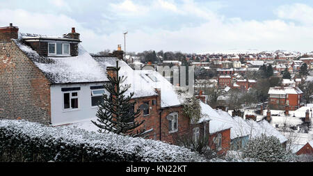 UK Weather: snow scenes around the market town of Ashbourne Derbyshire in the Peak District National Park Credit: - Stock Image
