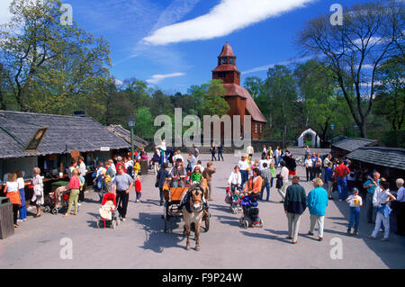 Open air museums, zoo, rides and shops at Skansen theme park in Stockholm - Stock Image