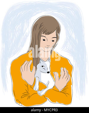 Woman and tiny dog.   Woman hugging baby white dog. vector illustration of animal lovers. - Stock Image