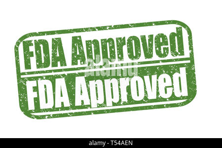 Rubber Stamp FDA Approved, (Food and Drug Administration) text on white illustration - Stock Image