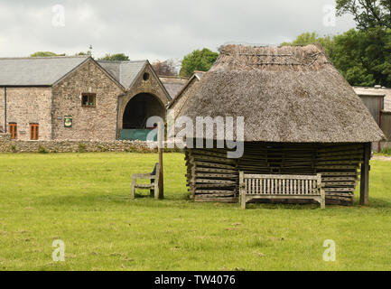 The thatched stack of Hurdles on the village green at Priddy in Somerset. The ash hurdles were originally used to pen the sheep, for which the Mendip - Stock Image