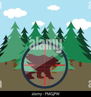 Flat design scene of hunting in fir forest. Vector illustration. - Stock Image