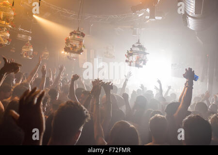 The dance floor at DC-10 club in Ibiza - Stock Image