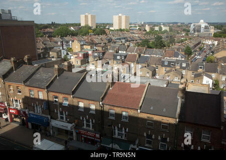 A general view of housing in houses and flats in Wood Green, North London - Stock Image