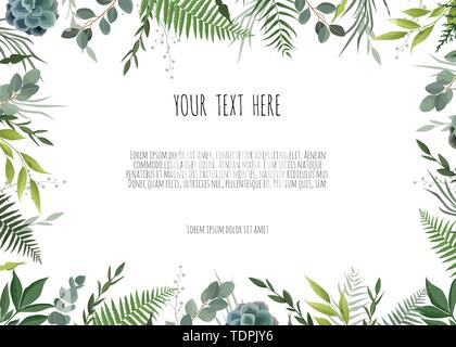Green branches leaves foliage, border frame - Stock Image
