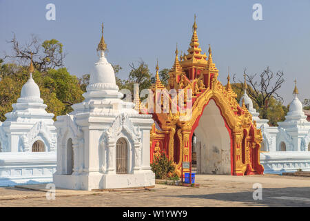 One of the entrances to the Kuthodaw pagoda in Mandalay - Stock Image