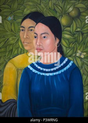 Two Women, Salvadora and Herminia, Frida Kahlo, 1928, Museum of Fine Arts, Boston, Mass, USA, North America - Stock Image