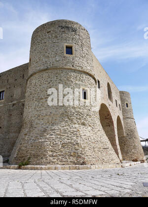 The castle in the hill top town of Bernalda in Basilicata, Southern Italy - Stock Image