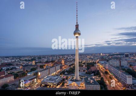 View from Parorama Bar to Alex TV Tower, Berlin - Stock Image