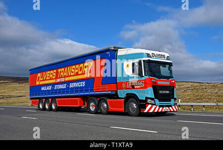 Olivers Transport Limited, Haulage, Storage, Services, HGV. M6 Motorway, Southbound, Shap, Cumbria, England, United Kingdom, Europe. - Stock Image