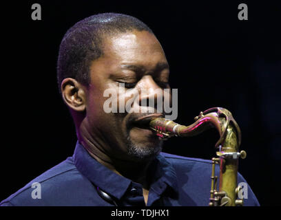 June 15, 2019 - New York City, New York, U.S. - Jazz saxophonist RAVI COLTRANE (son of pianist Alice Coltrane and saxophonist John Coltrane) performs in DeJohnette, Coltrane, and Garrison Trio  during the 'Sony Presents Blue Note Jazz Festival' held at SummerStage, Central Park. (Credit Image: © Nancy Kaszerman/ZUMA Wire) - Stock Image