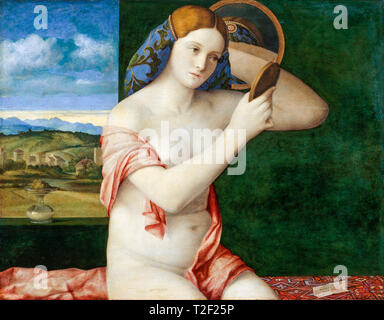 Giovanni Bellini, Naked Young Woman in Front of the Mirror, painting, 1515 - Stock Image