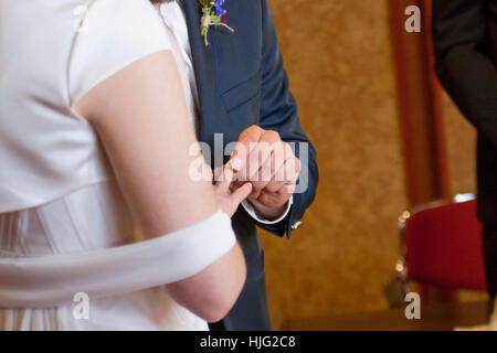 Bride Bridegroom Wedding Ring Ring Marriage Ceremony Ceremony Wedding Ceremony Pampering Fingers Hand Dress Dress - Stock Image