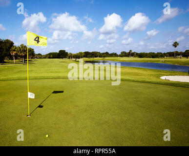 Hole 4 on a Golf Course - Stock Image
