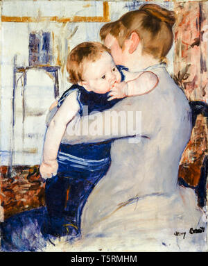 Mary Cassatt, Baby in Dark Blue Suit, Looking Over His Mother's Shoulder, painting, c. 1884 - Stock Image