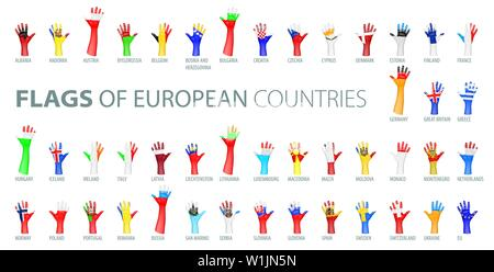 Hand and national flag. Vector illustration of a set of European flags - Stock Image