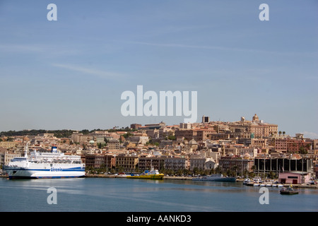Cagliari Port, Sardinia, Europe,  landmark harbour harbor boat ship skyline holiday vacation destination outside outdoor outdoor - Stock Image