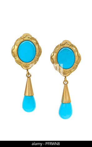 Gem Turquoise Set Earrings Pair Stones Are Approx 8mm (Bottom) And 10mm (Top) - Stock Image
