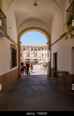 Archidona, Spain. Plaza Ochavada, Gate to enter Ochavada square, octagonal plant, in Andalusian Baroque style, Archidona, Andalusia, Spain. - Stock Image