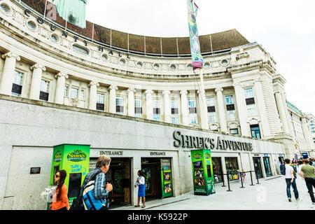Shrek's Adventure London UK, Shrek's Adventure, Shrek's Adventure building, Shrek's Adventure tourist attraction at County Hall on London's South Bank - Stock Image