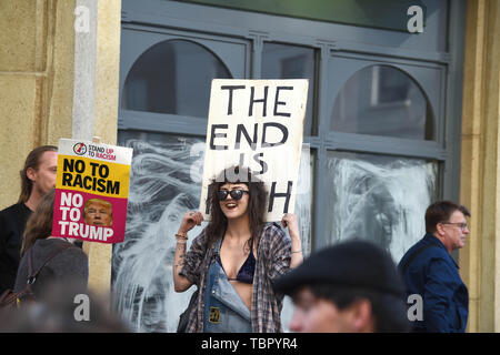 Brighton UK 3rd June 2019 - Anti Donald Trump protesters march through Brighton city centre this evening  to coincide with the President of the United States visit to the UK over the next few days . Credit : Simon Dack / Alamy Live News - Stock Image