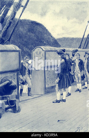 The escape of American Revolutionary general Benedict Arnold (1741 - 1801) onto the British ship Vulture, 1780, - Stock Image