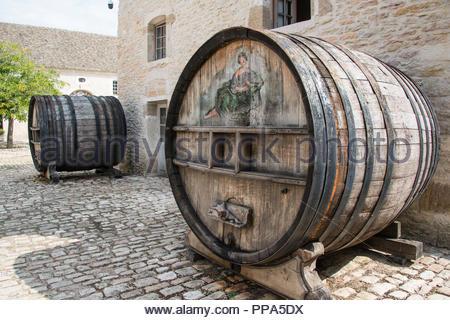 Wine barrels at Château de Pommard, Route des Grands Crus Burgundy France - Stock Image