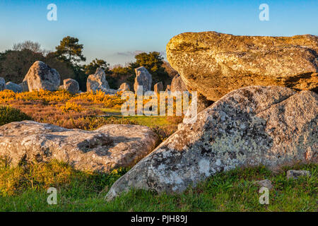Dolmen and standing stones at Carnac, Brittany, France, a UNESCO World Heritage Site and huge tourist attraction. Focus on foreground. - Stock Image
