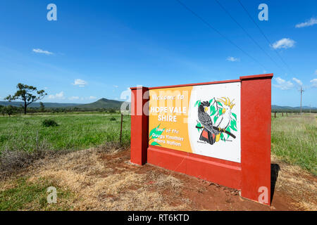 Beautiful Welcome to Hope Vale Shire sign, Bloomfield Track, near Cooktown, Far North Queensland, QLD, FNQ, Australia - Stock Image