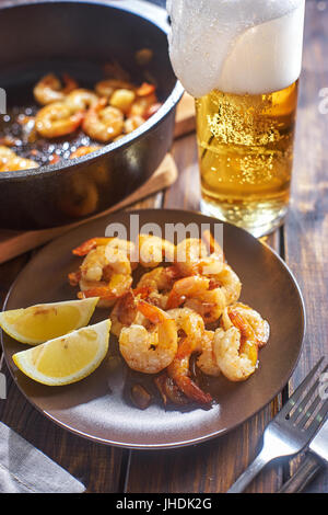 Fried shrims in plate - Stock Image