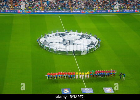 Champions League football match, previous moments. Santiago Bernabeu stadium, Madrid, Spain. - Stock Image
