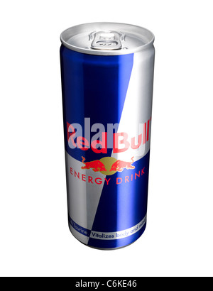 A cut out of a can of Red Bull energy drink - Stock Image