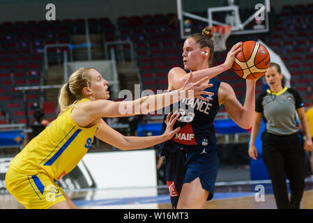 RIGA, LATVIA. 30th of June, 2019. Sara Chevaugeon (R ), during European Women Basketball Championship, commonly called EuroBasket Women 2019 , game between team Sweden and team France in Arena Riga, Riga, Latvia. Credit: Gints Ivuskans/Alamy Live News - Stock Image