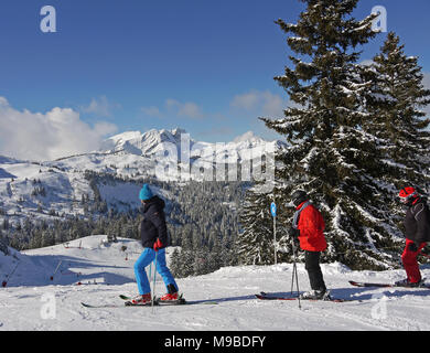 The busy ski resort of Chatel in the Portes du Soleil area of France - Stock Image