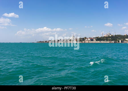 View of Istanbul from the ferry in the autumn afternoon - Stock Image