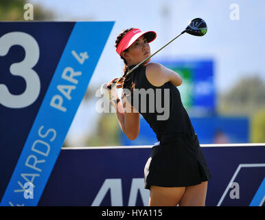 Rancho Mirage, California, USA. 2nd Apr, 2017. Michelle Wie on the 13th tee during the final round of the ANA Inspiration - Stock Image