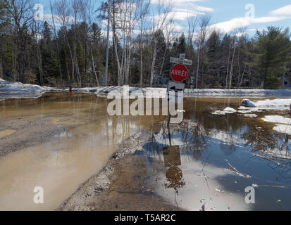 Quebec,Canada. A flooded gravel road caused by the spring thaw - Stock Image