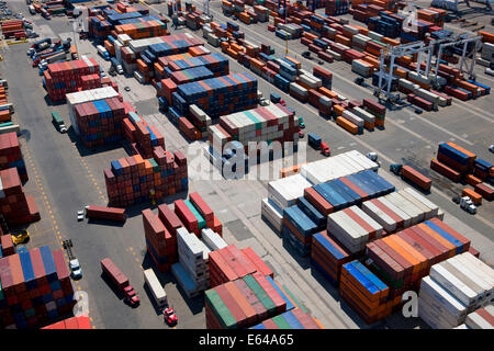 Aerial view of container port, Bayonne, New Jersey, U.S. A. - Stock Image