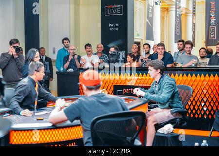 Rio de Janeiro, Brazil - March 25, 2019: Final table of the 2019 Partypoker LIVE MILLIONS South America festival at the luxurious Copacabana Palace - Stock Image