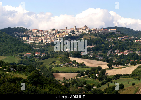 Areciva in the northern Marche province of Italy seen over typical patchwork fields courtryside . - Stock Image
