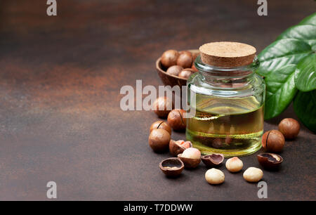 macadamia oil in a glass bottle, macadamia nuts on a brown background - Stock Image
