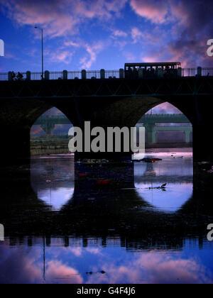 Old Evening Bridge in India - Stock Image