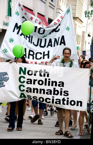 Demonstration to legalize Marijuana (motion blurred people) - Stock Image