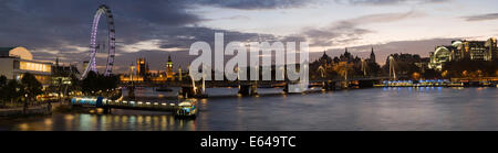 River Thames & London skyline with Millennium Wheel & Houses of Parliment - Stock Image